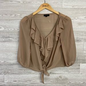 Mine Tan Ruffle Tie Front Button Down Sheer Blouse